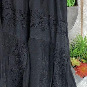 Braja Embroidered Boho Black Full Midi Skirt